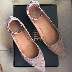 Frye Suede Strapped Flats